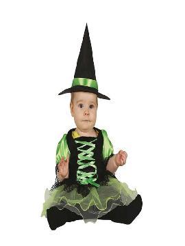 disfraz de brujita verde y negro con tutu bebe