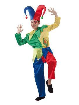 disfraz de bufón colorido niño infantil. Le servirá a tu niño para trasladarse en el tiempo  y convertirse en el personaje de la comedia del arte italiana es sus fiesta de disfraces y fin de curso. Este disfraz es ideal para tus fiestas temáticas de disfraces de payasos del circo,bufones y arlequines para infantiles.