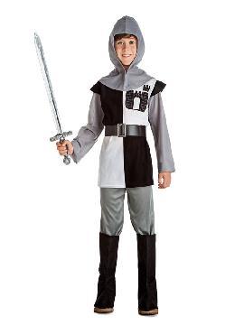 disfraz de caballero medieval blanco y negro niño