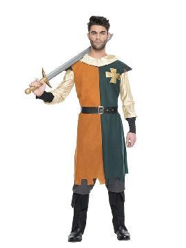 disfraz de caballero medieval hombre. Te convertirás en una auténtico hombre de la época medieval cuando lleves este traje, representaciones teatrales, bodas medievales y mercados. Este disfraz es ideal para tus fiestas temáticas de disfraces epoca y medievales para la edad media adulto