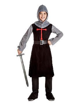 disfraz de caballero medieval negro niño. Para representaciones en colegios o para mercados medievales esta compuesto por una túnica cruz. Es ideal para tus fiestas temáticas de disfraces época y medievales para la edad media infantiles.