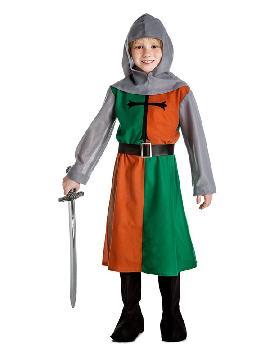 disfraz de caballero medieval verde. Este traje es para representaciones en colegios o para mercados medievales esta compuesto por una túnica cruz. Es ideal para tus fiestas temáticas de disfraces época y medievales para la edad media infantiles