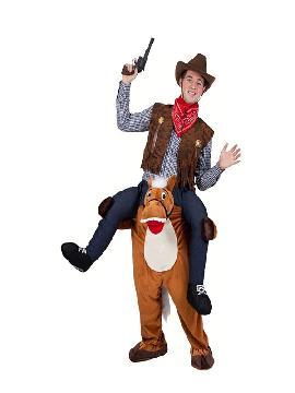 disfraz de caballo con jinete a hombros hombre