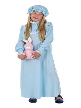 disfraz de camison azul de abuela para niña