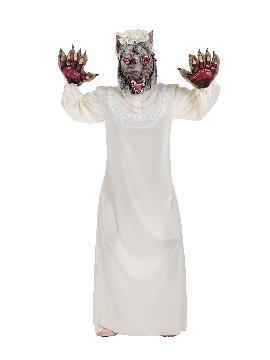 disfraz de camison blanco de abuela adulto