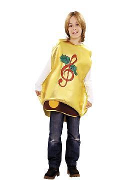 Disfraz de campana para niño. Es ideal para representaciones escolares y hará sonar una melodía navideña. Este disfraz es ideal para tus fiestas temáticas de disfraces de navidad y cabalgatas de reyes.