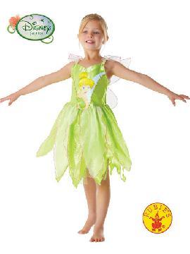 disfraz de campanilla classic niña. Campanilla es la compañera de aventuras de Peter Pan. Puede volar y hacer que los demás vuelen gracias a su polvo de hada, que esparce mientras vuela. Ella es muy celosa, y detesta que Peter esté con otras chicas.