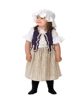 disfraz de campesina medieval bebe. Carateriza muy bien el personaje de Tabernera del medievo. En Carnaval, Ferias Medievales.Este disfraz es ideal para tus fiestas temáticas de disfraces de medieval para bebes.