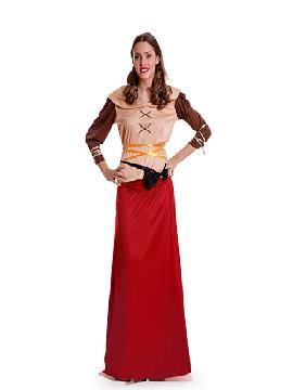 disfraz de campesina medieval mujer adulto. Para encarnar a una tabernera, tesonera, campesina o pastora en ferias medievales.Este disfraz es ideal para tus fiestas temáticas de disfraces época y medievales para la edad media mujer adultos.