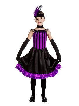 disfraz de can can lila y negra niña