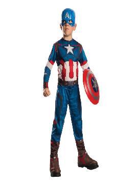 disfraz de capitan america classic los vengadores las era de ultron para niño. La segunda película de la saga de Los Vengadores, que continúa narrando la historia de estos superhéroes. En ella, Tony Stark intenta impulsar un programa de armamento para mantener la paz, pero surge Ultrón, que es una terrorífica criatura tecnológica empeñada en la extinción de la raza humana. Este superheroe es ideal para tus fiestas temáticas de disfraces superheroes y comic