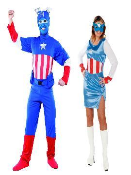 disfraz de capitan america para hombre y mujer. Con este traje no pasarás desapercibido en Fiestas Temáticas, de Disfraces o en Carnavales y seras un superheroe de comic fantastico.Esta superheroina o superheroe es ideal para tus fiestas temáticas de disfraces para parejas de superheroes.