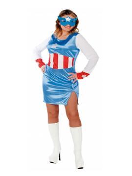 disfraz de capitan azul mujer adulto. Te sentirás como un auténtico héroina de comic.  Únete a los Vengadores y disfruta de todas las fiestas de Carnavales.Esta superheroina es ideal para tus fiestas temáticas de disfraces superheroes y comic mujer adultos.
