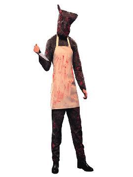 Disfraz de carnicero asesino para hombre. Lo pasarán de muerte asustando a los pequeños en la noche de Terror y halloween. Este disfraz es ideal para tus fiestas temáticas de miedo y terror para adulto