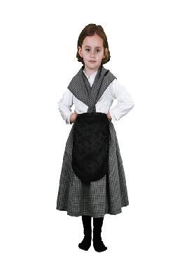 Disfraz de castañera niña infantil. Se trata de un traje muy demandado e ideal para festivales de otoño en el colegio o castañadas. También vale para vestirse de vieja.