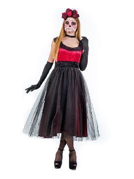 disfraz de catrina osamenta mujer