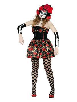disfraz de catrina para mujer. Conviértete en la musa del día de los muertos Mexicano con este traje de Catrina. Consigue ser la novia más escalofriante y sexy en fiestas del terror, halloween y carnaval. Este disfraz es ideal para tus fiestas temáticas de disfraces miedo y mejicanos para mujer adultos.