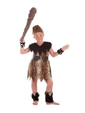 disfraz de cavernicola marron para niña con maza