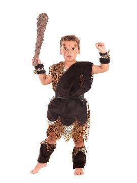 disfraz de cavernicola marron para niño