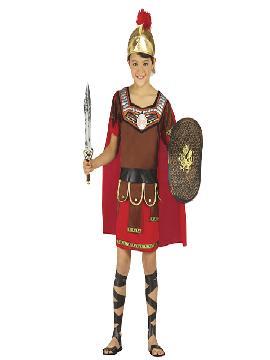Disfraz de centurión romano infantil. Tu hijo será el valiente héroe de la mitología griega. Defiende a los humanos de los monstruos como la hidra para que disfruten de las fiestas de Carnaval y cabalgatas de reyes.Este disfraz es ideal para tus fiestas temáticas de disfraces romanos y egipcios para infantil.