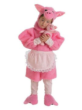 disfraz de cerdita con peluche niña