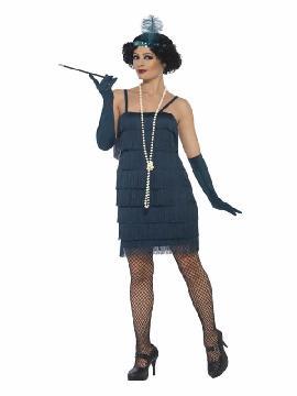 disfraz de charleston años 20 azul mujer