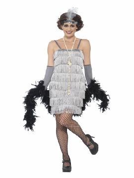 disfraz de charleston años 20 plateado mujer