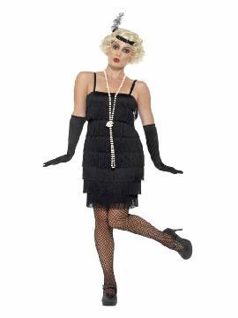 disfraz de charleston negro años 20 mujer