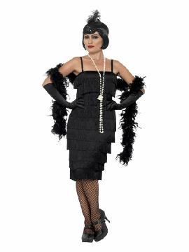 disfraz de charleston deluxe negro años 20 mujer