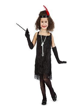 disfraz de charlestón flecos negro niña
