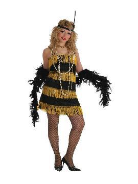 disfraz de charleston flecos negros y amarillo mujer