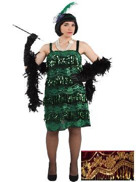disfraz de charlestón granate con oro mujer. Compra tu disfraz barato adulto para tu grupo. Este traje es ideal para tus fiestas temáticas de can can y cabaret y años 20.Fabricación nacional
