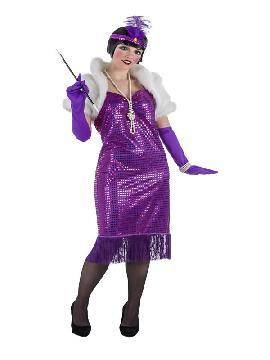 disfraz de charleston lujo purpura para mujer