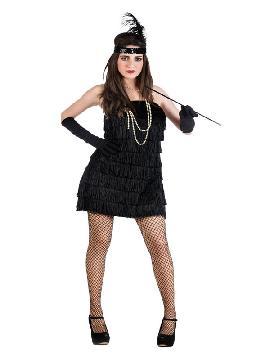 Este disfraz de charlestón de color negro para mujer es ideal para tus mejores fiestas de cabaret de lo más elegante para carnaval, fiestas temáticas de bailes o con gangster. Disfruta con este disfraz adulto de los años 20 de lo más original y divertido.