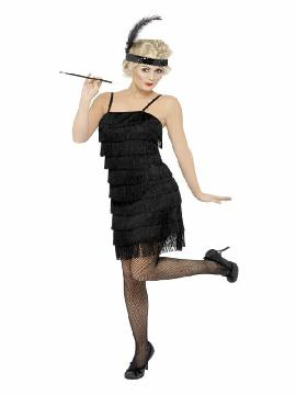 disfraz de charleston negro mujer años 20