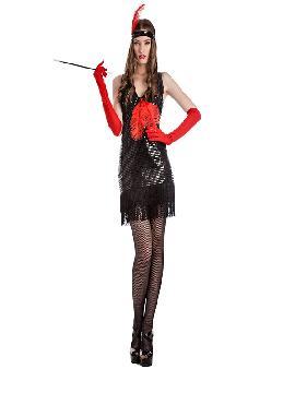 disfraz de charlestón negro pluma mujer. Siéntete como una bailarina de can can en los clásicos cabaret de París de la época con este sexy traje. Este disfraz es ideal para tus fiestas temáticas de disfraces de gangsters, años 20 y cabaret para adultos.