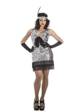 disfraz de charlestón plata mujer