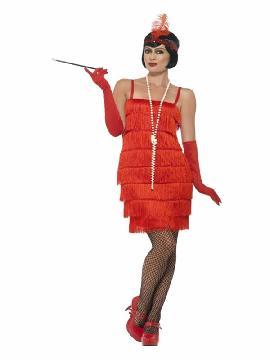 disfraz de charleston rojo años 20 para mujer