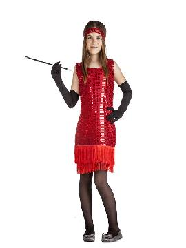 disfraz de charlestón rojo con flecos niña