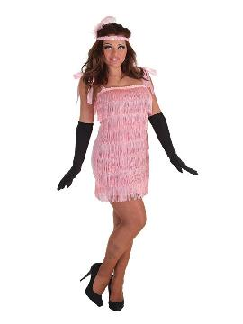 disfraz de charleston rosa con flecos para mujer