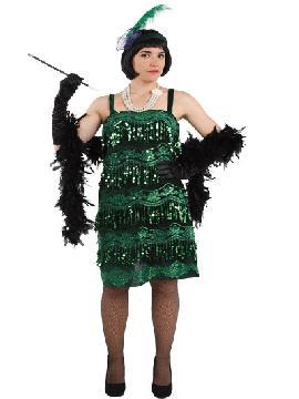 disfraz de charlestón verde lujo mujer. Compra tu disfraz barato adulto para tu grupo. Este traje es ideal para tus fiestas temáticas de can can y cabaret y años 20.Fabricación nacional.