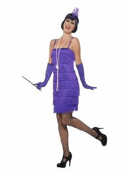 disfraz de charleston violeta años 20 mujer
