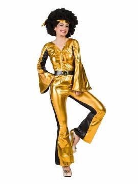disfraz de chica disco dorado mujer