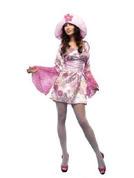 disfraz de chica hippie floral mujer. Vuelve a estos mágicos años con este traje de hippie con su vestido colorido y su bonito chaleco marron.Este disfraz es ideal para tus fiestas temáticas de disfraces hippies Años 60,70 y 80 adulto en pareja