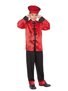 disfraz de chino rojo niño infantil