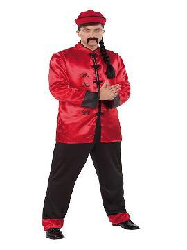 disfraz de chino rojo y negro para hombre