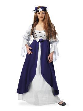disfraz de clarisa medieval azul mujer
