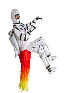 disfraz de cohete o rocket para hombre adulto. Si alguna vez has soñado en viajar a la luna nada mejor con este traje de cohete para ser el más original de las fiestas de disfraces o carnaval. Es ideal para tus fiestas temáticas de disfraces de humor y divertidos hombre adultos.