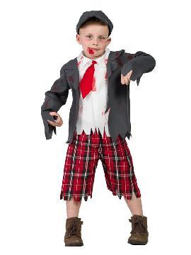 disfraz de colegial zombie niño