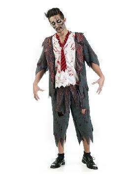 disfraz de colegial zombie hombre